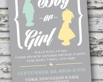 Gender Reveal Invitation 5x7: Printable and customizable