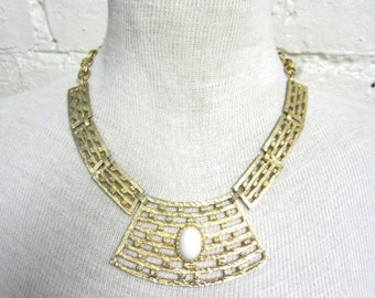 60s Chunky Egyptian Necklace Choker Cleopatra Necklace Gold Tone Textured Hammered White Cabochon Statement Necklace Geometric Bricks Asian