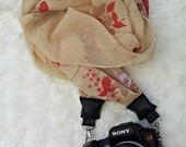 DSLR Scarf camera strap-cream and red
