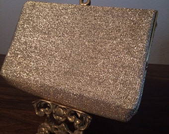 Vintage Gold Metallic Tinsel Clutch Purse
