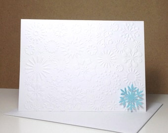 Embossed Christmas Holiday Snowflake Card Set, Handmade Christmas Cards, Holiday Snowflake Christmas Cards