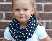 Black with White Polkadots Toddler Infinity Scarf