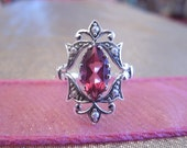 Marquise Ruby or Sapphire in Sterling Silver Victorian Style Mounting with Seed Pearl