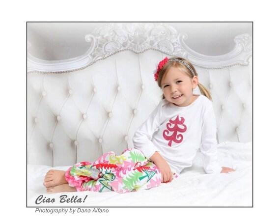 Pink Glitter Christmas Tree Pajamas Girls Christmas Pajamas