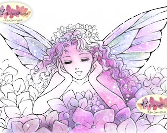 Digital Stamp Instant Download - Hydrangea Fairy 2 - Fairy Propping Her Chin Up - Fantasy Line Art for Cards & Crafts by Mitzi Sato-Wiuff