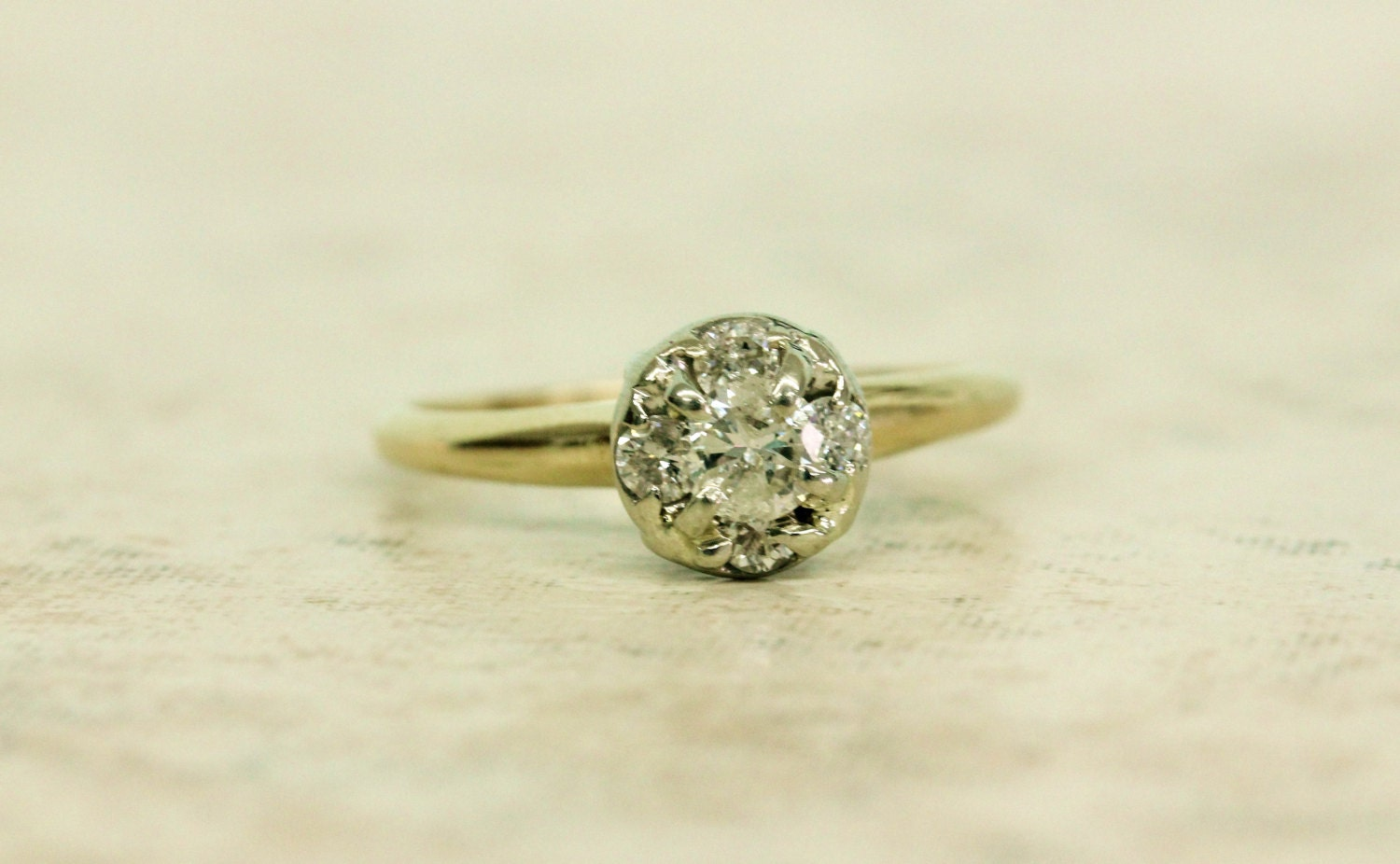 cluster ring vintage engagement by