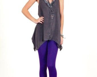 Violet Purple Stretch Cotton Leggings