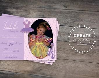 Purple or Pink Ballet Birthday Invitation. Any Age Girl Birthday. Custom Digital Printable