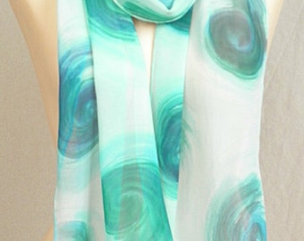 Long Silk Chiffon Scarf - Blue Swirls