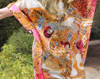Art Print Silk Tunic, Silk Coverup, Silk Caftan