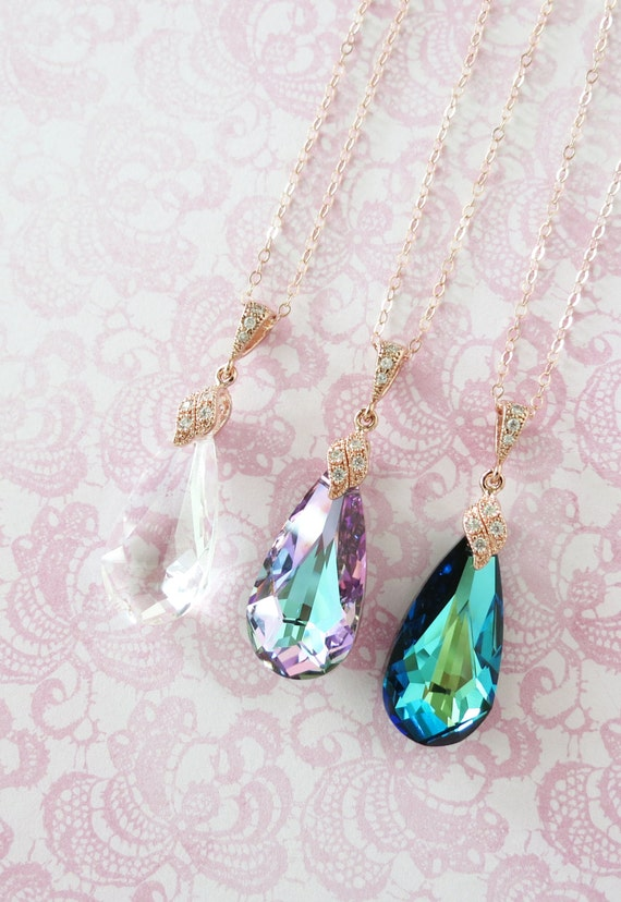 Rose Gold Vitrail Light Purple Faceted Teardrop Crystal necklace, Rose Gold Pink Peacock Wedding Bridal necklace, Bridesmaid - Katelyn