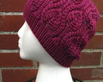 Leaf Pattern Cabled Wool Beanie (100% Wool)