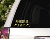 Adventure Awaits Typography Car Window Decal