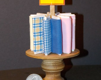 Dollhouse Miniature Sewing Fabric Bolt Table  1:12 one inch scale