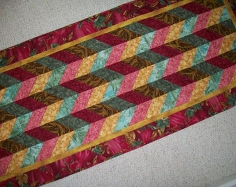 Chevron table runner - large couch back cover - pink green gold sofa throw - yellow brown table topper - green pink bed runner