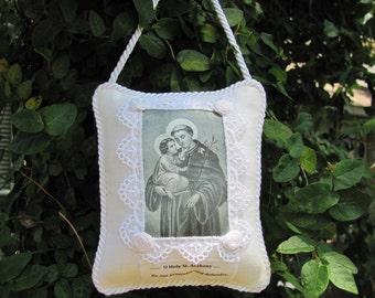 Saint Anthony  Scented  Pillow Sachet in white linen......
