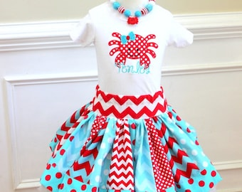girls crab outfit crab skirt set birthday crab girls summer outfit personalized girls clothing  skirts toddler skirt aqua red clothing