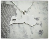 LATVIA Necklace - Sterling Silver Personalized State Country Love Heart Charm Pendant Chain, Hand Cut & Polished in USA
