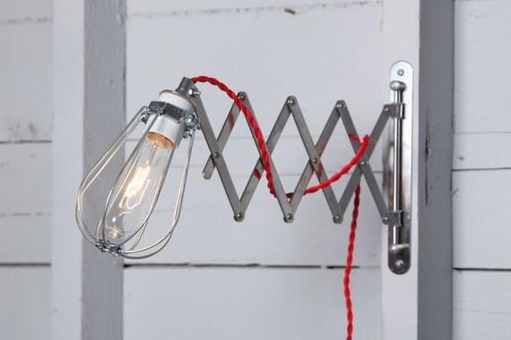 Lampe applique murale industrielle ciseaux applique fil - Applique accordeon industrielle ...