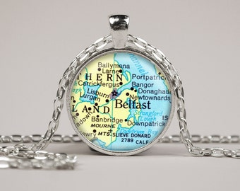 Belfast Northern Ireland Map Pendant Necklace or Keyring Glass Art Print Jewelry Vintage Map Pendant Europe Map Pendant Atlas Pendant