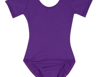 PURPLE Girls Short Sleeve Leotard for Child and Toddler