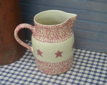 """Red Spongeware Pitcher with Stars 7.5"""" tall Pitcher Gerald Henn Roseville Pottery Country Cottage Rustic Farmhouse I Ship Internationally"""