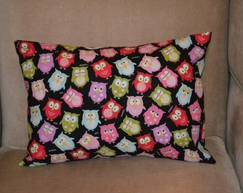Travel Pillow Case / Child Pillow Case of COLORFUL OWLS