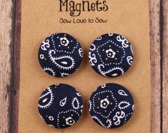 Fabric Covered Button Magnets / Blue Bandana Magnets / Western Magnets / Strong Magnets / Refridgerator Magnets