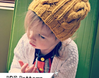 Hipster Toddler Girl Cabled Slouchy Hat PATTERN
