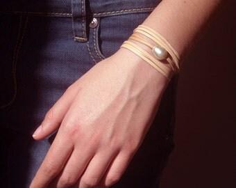 Australian pearl,  Australian leather, unisex bracelet, adjustable bracelet, sterling silver - pure design