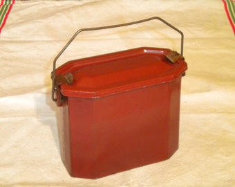 Vintage 1930s French Enamelware Lunch box  or canister Medium Size Brown