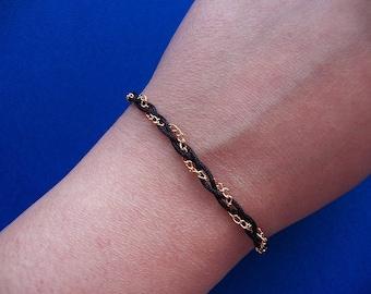 Black Braided Bracelet, Thin Gold Chain, Braided Jewelry