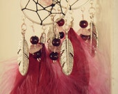 Dream Catcher Silver Tone Chandelier Earrings with Rose Crystal Quartz Stones and Deep Pink Feathers