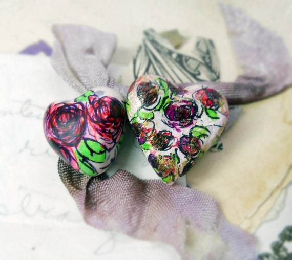 Illustrated Paper Clay Beads - 2 Rustic Embellished Floral Heart Beads - Hand Drawn Flowers - Chunky Primitive - Hand Drawn Pink and Black