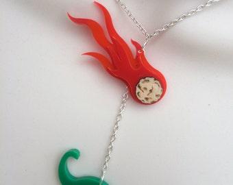 laser cut acrylic 'dinosaur & falling comet' necklace