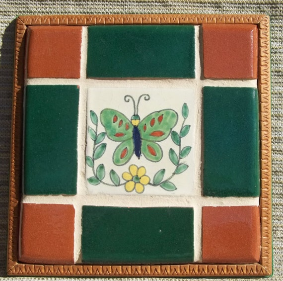 Vintage Ceramic Tile Trivet Mosaic Butterfly By
