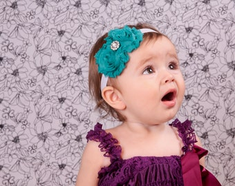 Teal Shabby Chic Flower Headband Newborn Headband Baby Headbands Cute Baby  Flower Headbands- Choose Colors