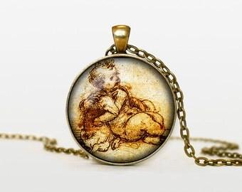 Leonardo da Vinci drawing necklace Leonardo da Vinci drawing pendant Leonardo da Vinci drawing jewelry