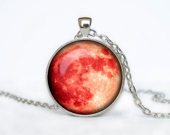 Full Moon Necklace Moon Pendant  Space  Galaxy Blood Moon  Jewelry