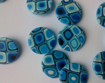 Pixel - Set of 4  Shank Buttons 2 cm. - Turquoise Blue - Handmade Polymer clay