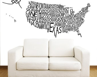 Usa Map Decal Etsy - Us map wall decal