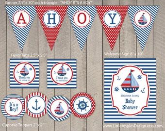 Nautical Baby Shower Package / Nautical Decoration / Nautical Baby Shower Printable / Nautical Party pack / Nautical Printable
