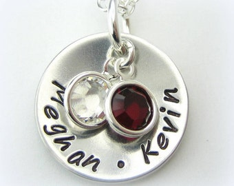 Mom handstamped personalized jewelry necklace mothers day with 2 Swarovski birthstone charms