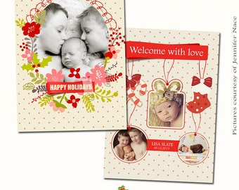 INSTANT DOWNLOAD 5x7 Christmas birth announcement card template - CA164
