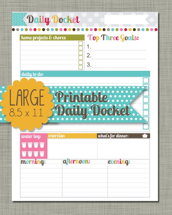 "Large {Printable} Daily Docket - Sized 8.5 x 11"" PDF"