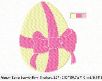 Easter Egg with Bow ~ Machine Embroidery Design in 2 SIZES