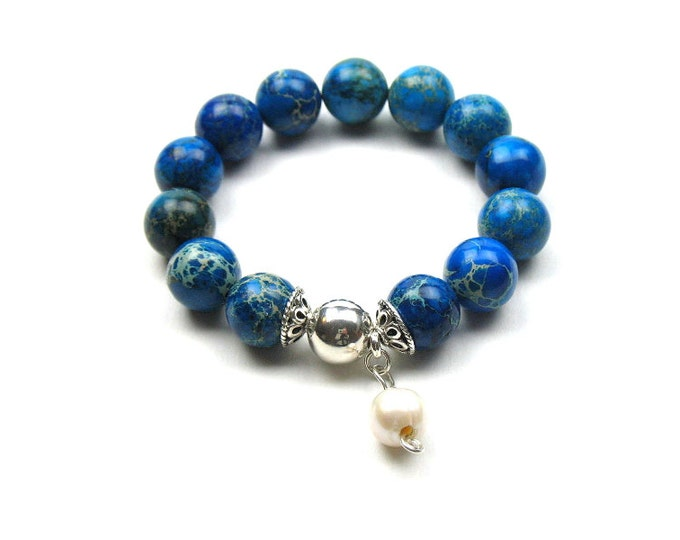 Bead Bracelet in Blue with Natural Emperor Stone, Sterling Silver Ball, Freshwater Pearl Charm / June Birthstone