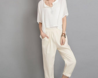 Beige causal cotton linen pants straight trousers