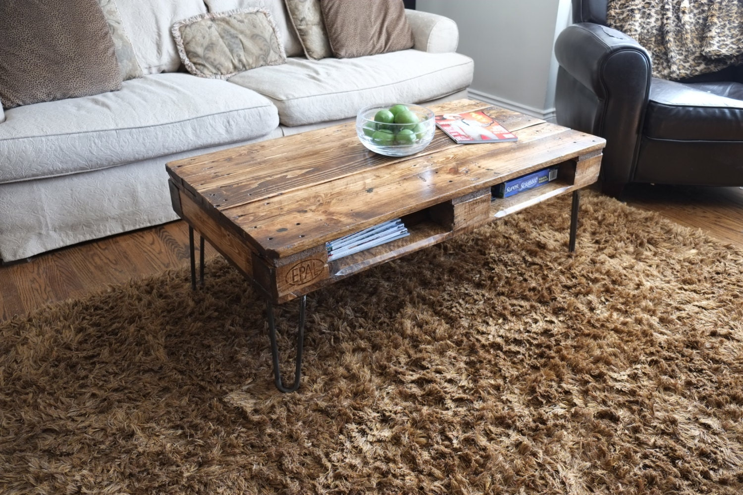 Antique Pallet Or Skid Coffee Tables On Hairpin Legs