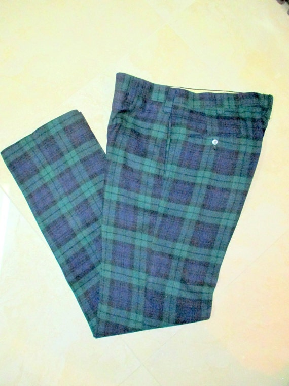 70's Wool Plaid Pants Men's Vintage Tartan by VintageWearTreasures